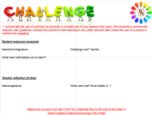T&L Challenge slip