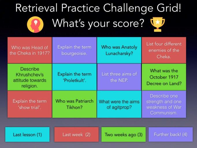 Retrieval Practice Challenge Grids